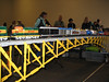 Dual Track Lego Truss Arch Bridge (I'd guess about 10 feet long!)-- LEGO train crossing the bridge.